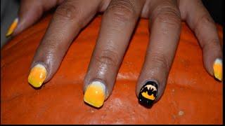 Easy Batty Candy Corn Nails