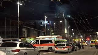 Fire engulfs building near Zurich train station