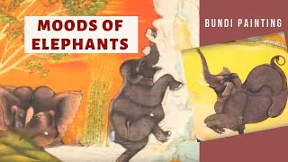 Elephants in various moods, painting