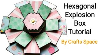 Hexagon Explosion Box Tutorial | Exploding Box | Valentine Day Card Ideas | By Crafts Space