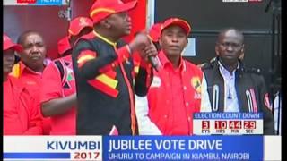 Jubilee vote drive : Uhuru Kenyatta leads Jubilee brigade in Kiambu