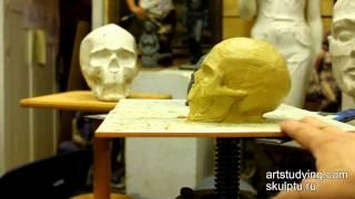 Смотреть онлайн Как лепить из пластилина череп человека, урок