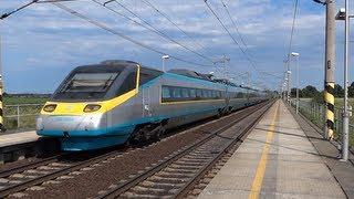 Pendolino SC 510 Tatce u Kolína a další vlaky, průlety 160km/h [ Full HD ]