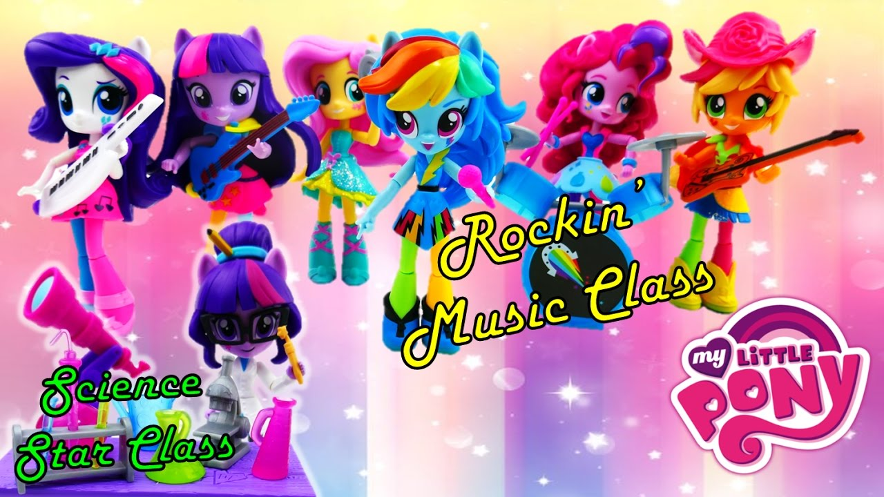 My Little Pony Sci-Twi Twilight Sparkle Science Star Class and Rainbow Dash Rockn' Music Class