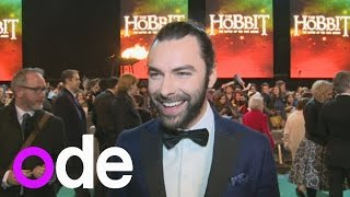 Aidan Turner talks about his man bun at The Hobbit premiere