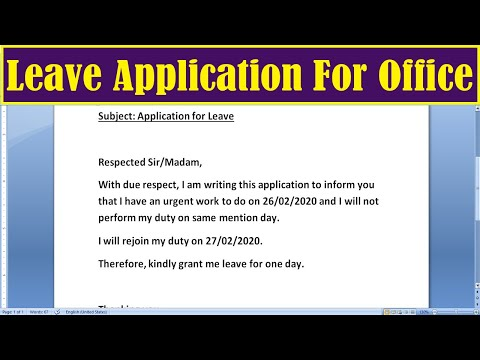 How to Write Leave Application for Office | Leave Application for Office
