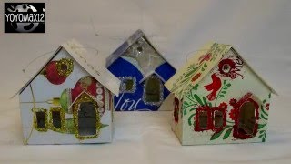 Putz Glitter House Ornament Using Recycled Christmas Cards-with Yoyomax12