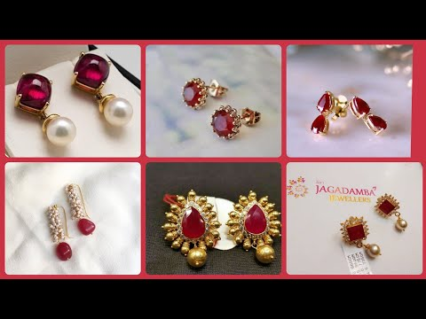Stylish And Luxury Gold and Ruby Earrings with Pearls/New Trending Earrings