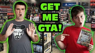 Kid Temper Tantrum At GameStop First Time - Wanted Grand Theft Auto V