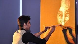 Vilas Nayak painting Dr. APJ Abdul Kalam for India Inclusion Summit