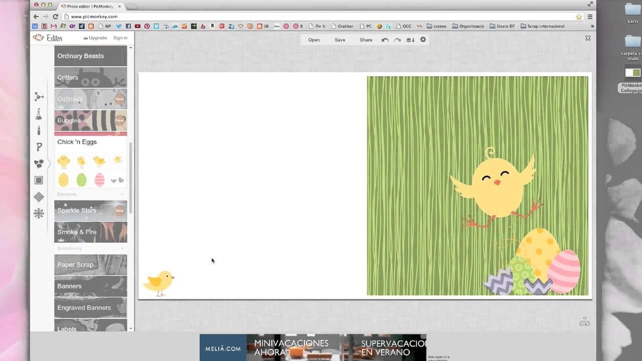 Cómo hacer una tarjeta de Pascua con Picmonkey *Tutorial Scrapbook*