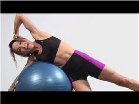 Fitness Exercises : Side Crunches on Stability Ball Exercise