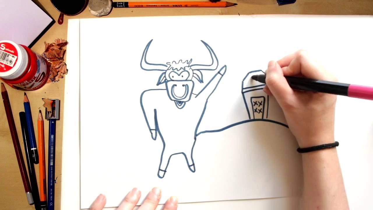Como desenhar o Touro da Turma da Vaquinha - desenhos para crianças