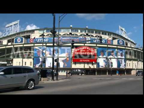 Quick Pan Shot Exterior of Wrigley Field, Chicago