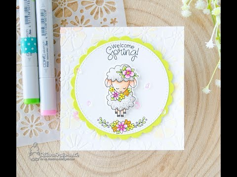 Welcome Spring Card and Marbling Stenciling