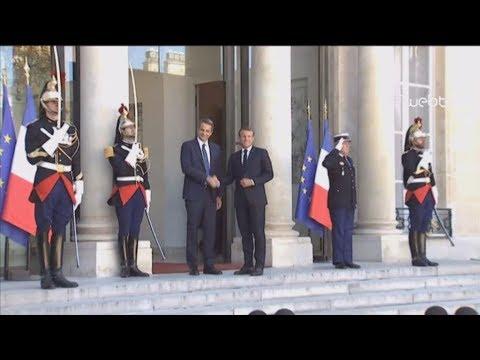 Συνάντηση του Εμανουέλ Μακρόν με τον πρωθυπουργό Κυριάκο Μητσοτάκη στα Ηλύσια Πεδία