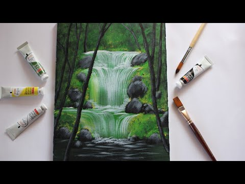 Waterfall acrylic painting for beginners   Step By Step Waterfall Landscape Painting for Beginners