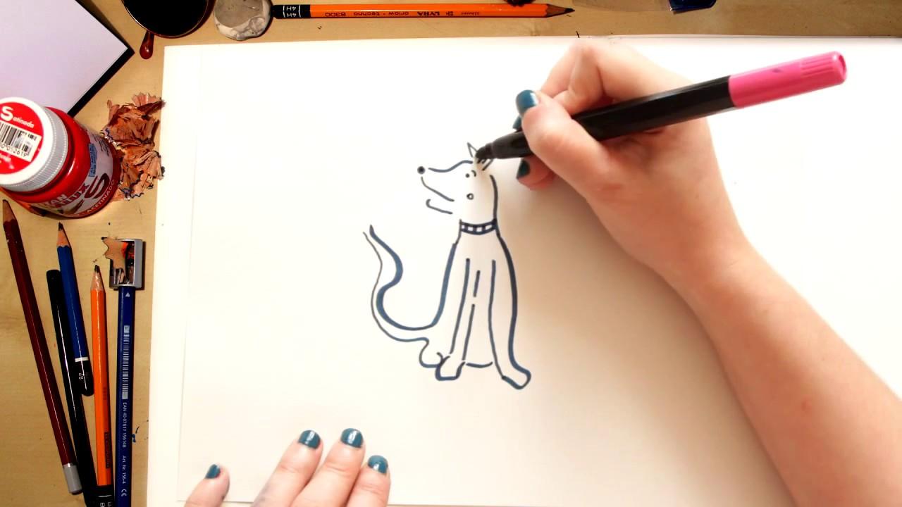 Como desenhar um Cachorro Vira-lata - desenhos para crianças