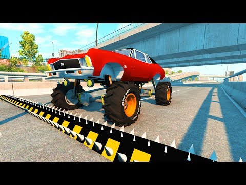 Beamng drive - Police Spike Strips Crashes (spike strip crashes compilation)
