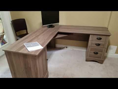Sauder 417586 Harbor View Computer Desk Review, Salt Oak Color, Cheap Good Quality Office Furniture