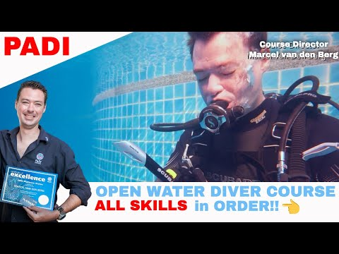 PADI Open Water Diver Course Video ALL Skills in Order • Scuba ...