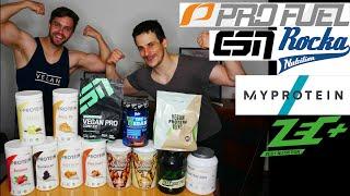 Großer vegane Proteinpulver Influencermarken Test #rockanutrition #profuel #myprotein #zecplus #esn