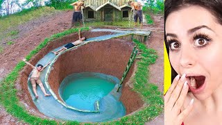 Kids Build AMAZING Water Slide Around Their SECRET UNDERGROUND HOUSE !
