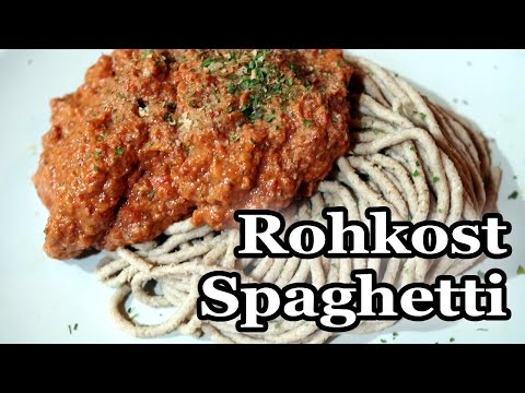Spaghetti Bolognese Vegan - Glutenfreie Rohkost Nudeln mit deftiger Tomatensoße! Einfach genial!