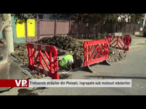 Trotuarele străzilor din Ploiești, îngropate sub molozul rețelarilor