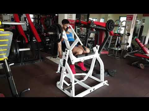 Hammer Strength Seated Leg Curl.