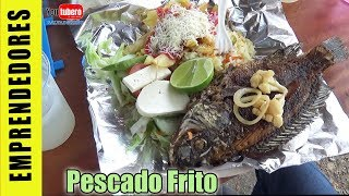 Comiendo pescado frito en el lago de Ilopango   Restaurante La Taberna Candelaria Cuscatlan