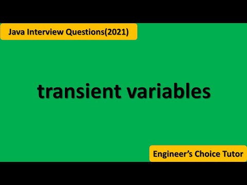 Transient Variable in Java || Java interview Questions(2021)