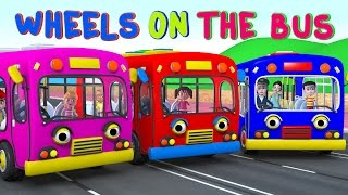 The Wheels on the Bus   Learning Colors Bus   Nursery Rhymes and Kids Songs 3D