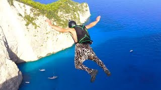 Best of BASE Jumping @Navagio Beach    Negative4 Productions