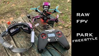RAW FPV Drone Flight - Tearing up the park - Freestyle 5in Source One V3