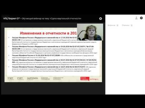 Обучающий вебинар на тему: «Сдача квартальной отчетности»