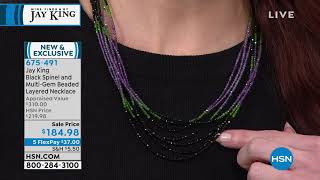 Jay King  Black Spinel and MultiGem Layered Necklace