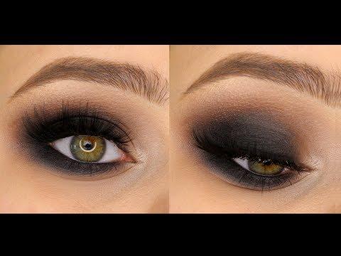 Классический чёрный смоки айс (smokey eyes) в круглой форме.