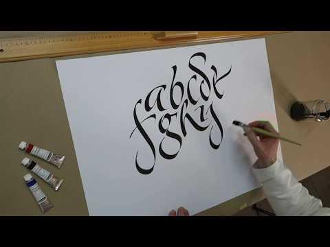 Freies Kalligrafiealphabet mit dem Flachpinsel