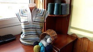 Пуловер с карманом (из остатков пряжи). Часть 3. Обзор связанного. Карман.
