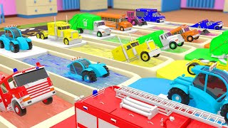 Learn Colors for Children with Street Vehicles Color Change Water Slides Parking Trucks 3D Kids Cars