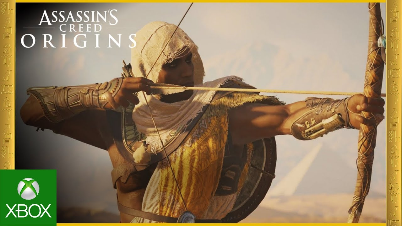 Front view of Bayek holding a readied bow