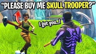 I asked strangers to BUY me the Skull Trooper skin on Fortnite... (I got it for FREE!)