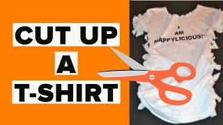 HOW TO CUT UP A T-SHIRT AND MAKE IT CUTE! #diy #howtocutupatshirt #thecreativelady