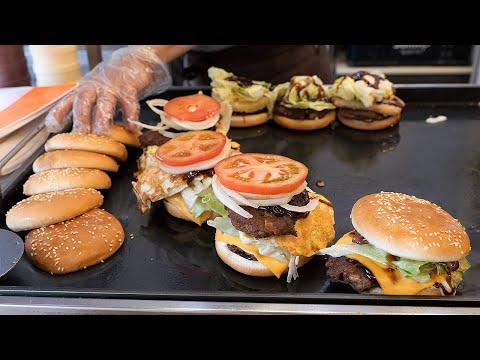 korean style cheese hamburger / 더블 패티 치즈 햄버거 / korean street food