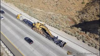 Transporting a CAT 375 Excavator down the highway