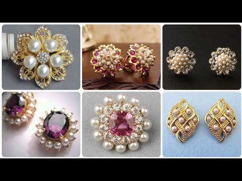 Classical And Simple Vintage Gold And Pearl Stud Earrings With Diamonds And Ruby