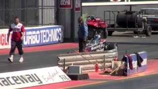 9 year old drag racing at santa pod raceway retro show 2013