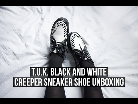 T.U.K. BLACK AND WHITE CREEPER SNEAKER SHOE UNBOXING! | Rocknroller