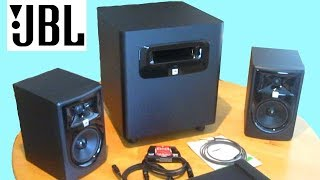 Setup & Review JBL 305p MKII with LSR310s Subwoofer comparison to Klipsch 2.1 Pro Media PC Speakers